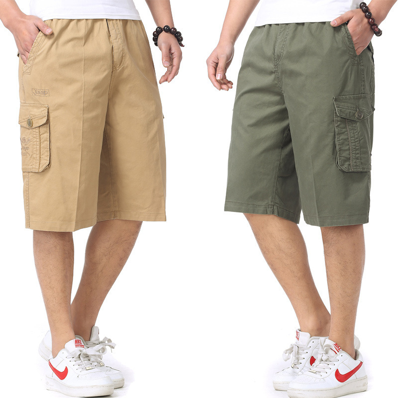 Large Size Men's Fitted Fat Bermuda Shorts Workwear Lard-bucket Loose-Fit Capri Pants Breeches Plus-sized
