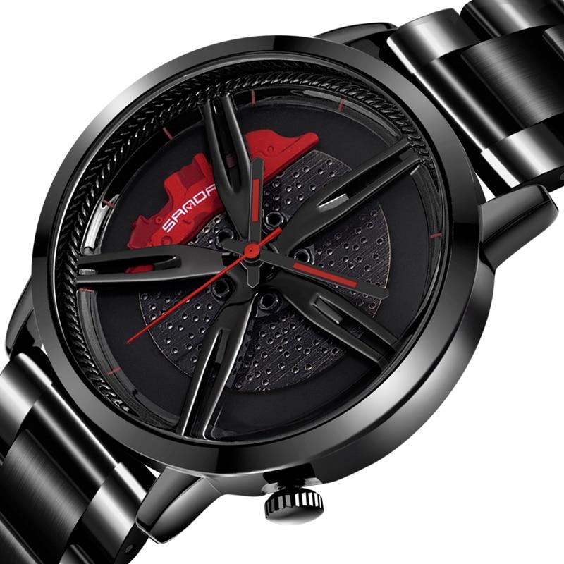 Men Watch Car Wheel Rim Hub Dial Male Wristwatch Cool Man Black Waterproof Watches Mesh Stainless Steel Quartz Relogio Masculino 1