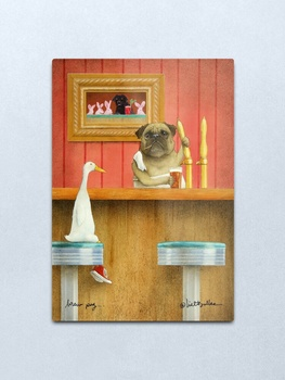 Will Bullas / art print / brew pug / humor / dog / duck Metal Print Wall Art Home Wall Decor Tin Sign image