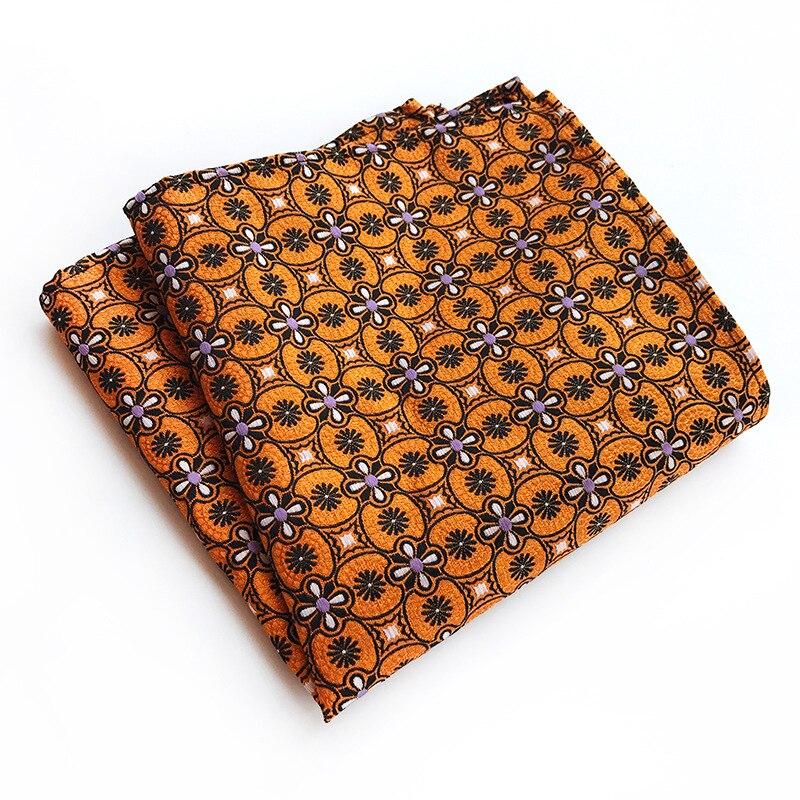 Red Blue Brown Orange Black Flower Patterned Pocket Square Handkerchief