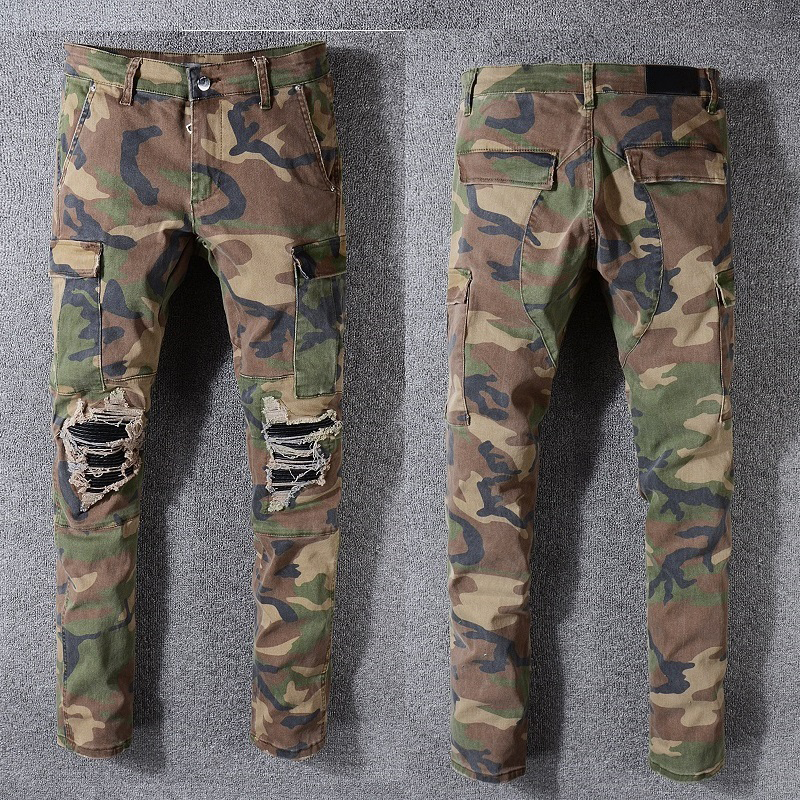 Best Quality USamr Style Camouflage Military Men's Distressed   Jeans   Pants Flares Patches Skinny Fit Camo   Jeans   Slim Denim Pants