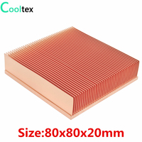 COOLTEX 80x80x20mm Pure Copper Heatsink Skiving Fin Heat Sink for Electronic Chip LED VGA Radiator Cooling Cooler