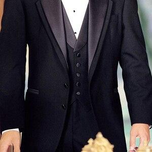 Image 5 - 黒新郎タキシード結婚式のための 3 ピース喫煙正式な男性のスーツスリムフィットメンズスーツセットジャケットパンツとベストファッション衣装