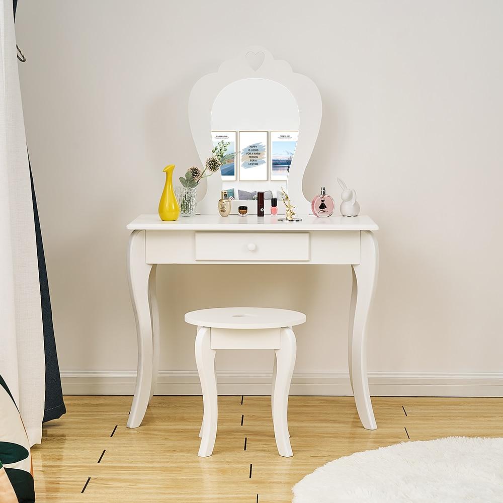 Panama Princess Girls Dressing Table Premium Quality Makeup Table Stool Mirror Little Kids Bedroom Girls Present White/ Pink
