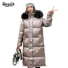 2019 Winter Jacket Women high street Thick Warm Hooded Bright side Coat Long solid zipper Plus Size xxl Slim Jacket Female oeak women s autumn and winter hooded jacket long sleeved thick coat warm side zipper jacket coat solid color long coat 2019