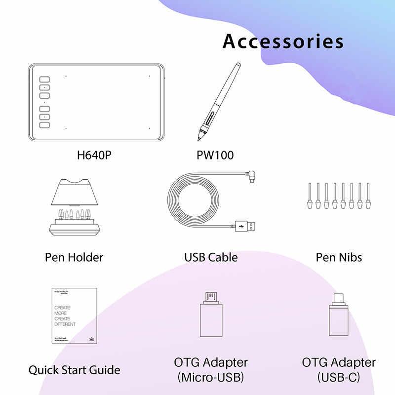 HUION Inspiroy H640P แบตเตอรี่ดิจิตอลแท็บเล็ตการวาดภาพกราฟิกปากกาแท็บเล็ตความดัน 8192 ระดับ Stylus OTG ของขวัญ