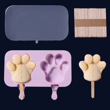 Cream Mold Silicone Popsicle Reusable Cream Tray Silicone Molds + 50 Wood Stick
