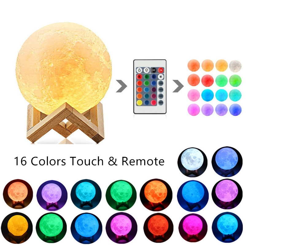 New 3D Printing Moon Lamp Color Change 2 Color Touch 16 Color Remote Control USB LED Night Light Home Decoration Creative Gift