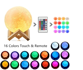цена на New 3D printing moon lamp color change 2 color touch 16 color remote control USB LED Night Light home decoration creative gift