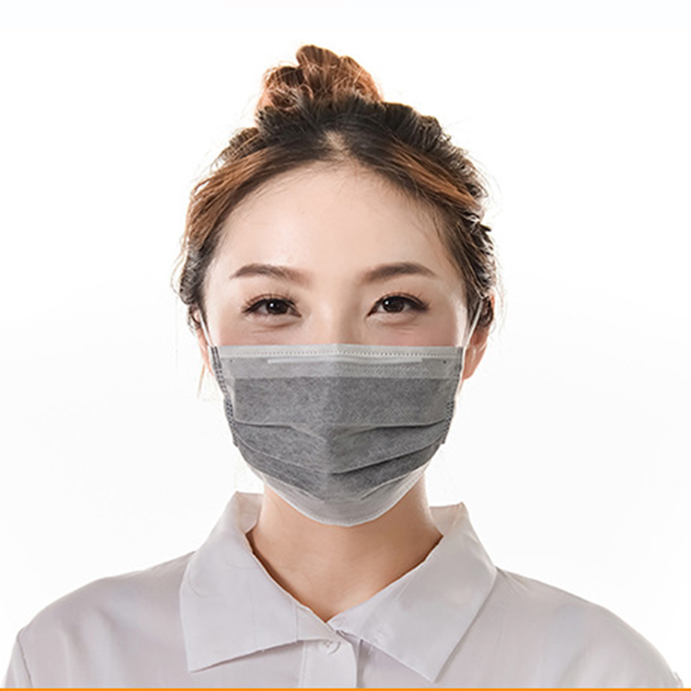 100 Pcs Disposable Earloop Medical Surgical Four Layer Activated Carbon Filter Face Masks
