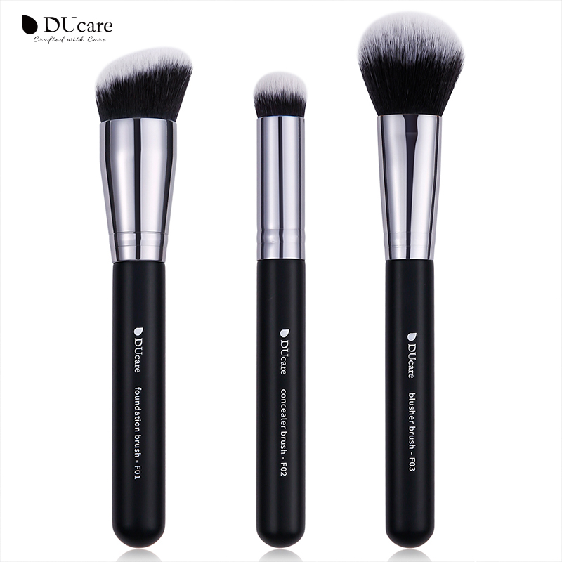 Ducare Zwart Professionele Make-Up Borstel Set Foundation Brush Concealer Blush Borstel 3 Packs Van Facial Beauty Make-Up Tools