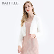 BAHTLEE Women Angora short Cardigans Sweater Autumn Winter Wool Knitted Jumper Coat Long Sleeves O-Neck suit style Pearl buckle(China)