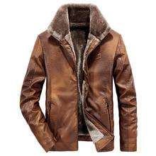 2019 Men's Leather Jackets Winter Warm Fleece Coat