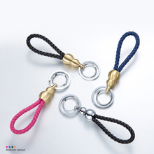 Alloy Gourd Leather Braided Rope Keychain Rings Car Key Chain Decoration for Gift Chevrolet Aveo Trax Cruze Chevy V8 Captiva