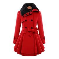 Wipalo Autumn Winter Plus Size S 5XL Women Fashion Faux Fur Lapel Double Breasted Warm Jacket Thick Wool Coat With Belt Outwear