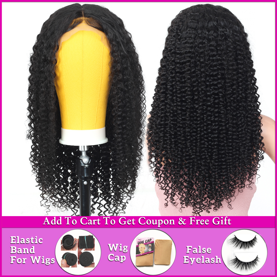 afro kinky curly human hair wig 13x4 lace front wig brazilian short lace front human hair wigs for women Non-Remy 150% Density