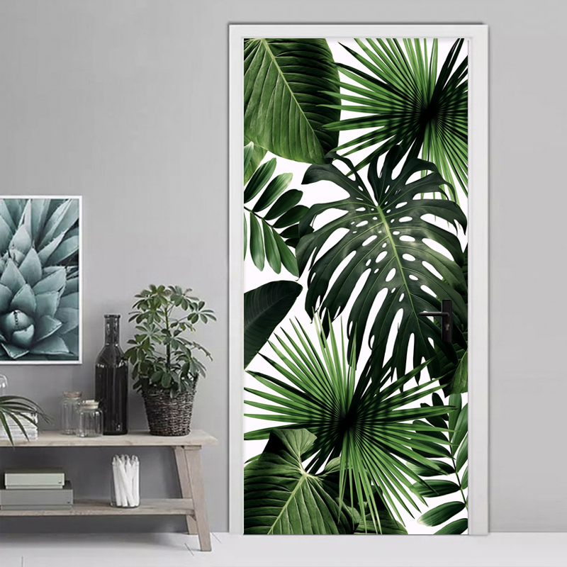 3D Wallpaper Modern Retro Tropical Rain Forest Door Sticker Living Room Dining Room Self-Adhesive Waterproof Wall Stickers Decal