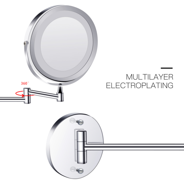 Led Makeup Mirror With Light Folding Wall Vanity Mirror 1x 10x Magnifying Double Sided Touch Bright Adjustable Bathroom Mirrors 6