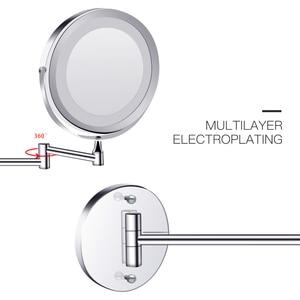 Image 5 - Lusterko kosmetyczne z podświetleniem Led ze światłem składane lustro kosmetyczne 1x 10x powiększające dwustronne dotykowe jasne regulowane lustra do łazienki
