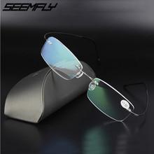 Seemfly Ultralight Reading Glasses Women Men Alloy Stainless Steel Frameless New Brand Design Presbyopic Eyewear