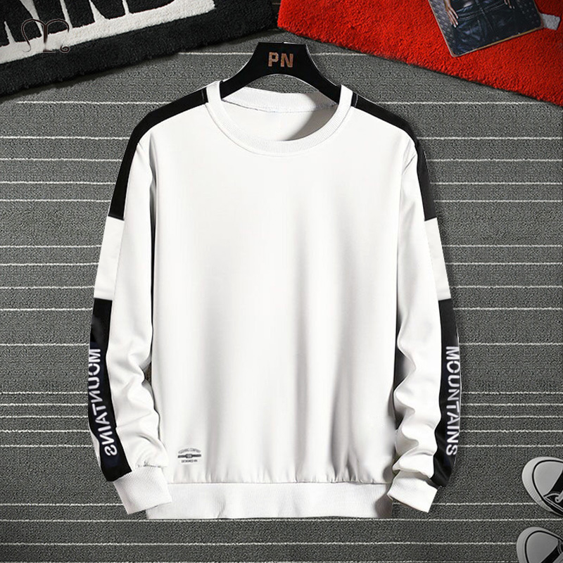 Men's Hoodies harajuku Fashion White Black Sweatshirt Male Hip Hop Japanese Streetwear Letter Patchwork Long Sleeve Pullover Top