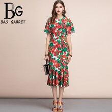 Baogarret Fashion Runway Summer Dress Womens Multicolor Floral Print Appliques Beading Ruffles Midi Mermaid Party