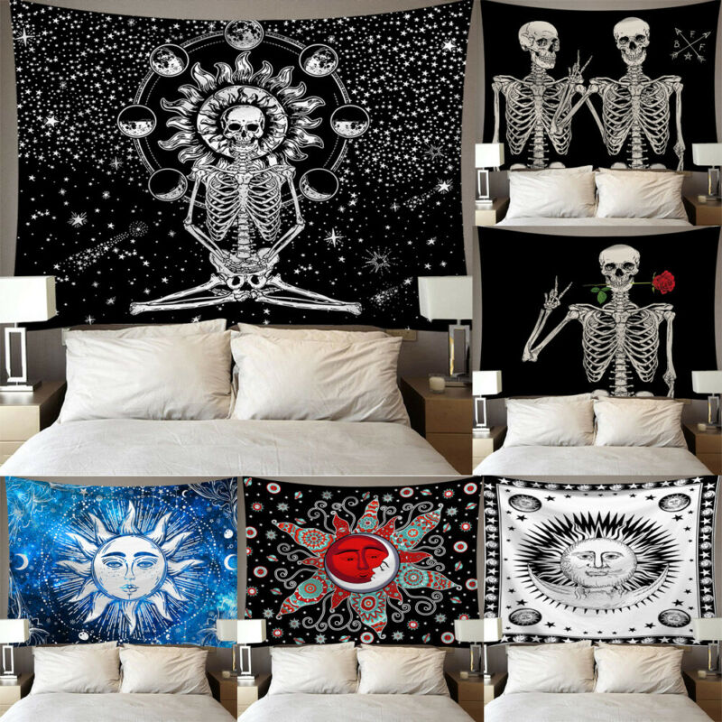 Hot Sale Mandala Skull Printed Wall Hanging Tapestry Beach Blanket Picnic Yoga Mat Home Art For Living Room Decoration