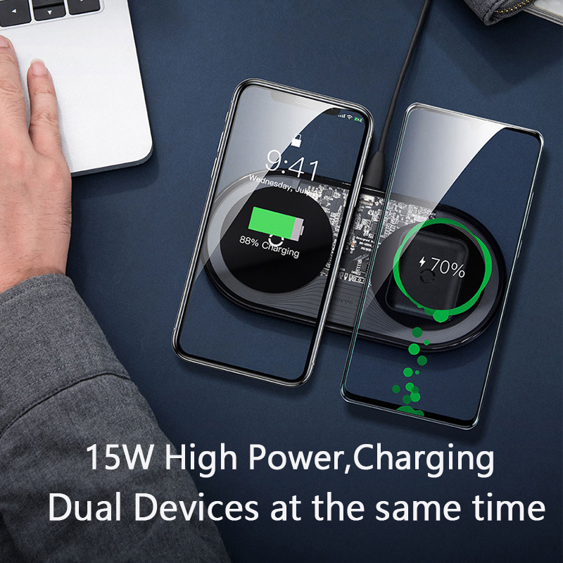Baseus 15W Dual Wireless Charger for iPhone 11 Pro Max X XS Max XR Visible Wireless