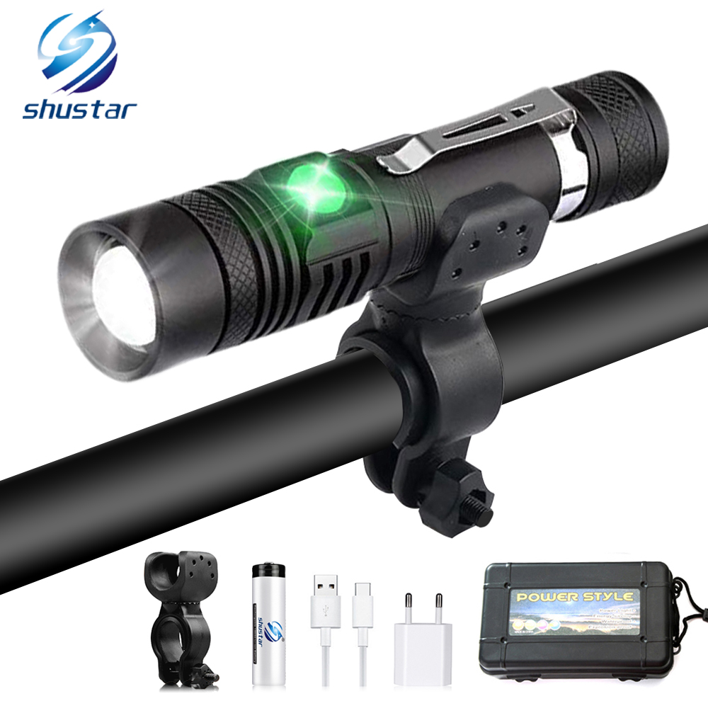 Super Bright Rechargeable Bicycle Light LED Bicycle Flashlight 4 Light Mode Support Zoom Using 18650 Battery Cycling Lighting