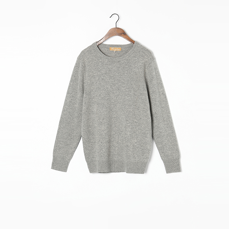 100%Cashmere Sweater Men Natural Fabric High Quality Winter Thick Warm Pullover Light Grey O-neck Pure Cashmere Sweaters