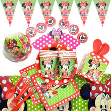 Minnie Mouse Party Decorations Paper Plates Napkins straws Birthday Party Decorations For girls Baby Shower party supplies(China)