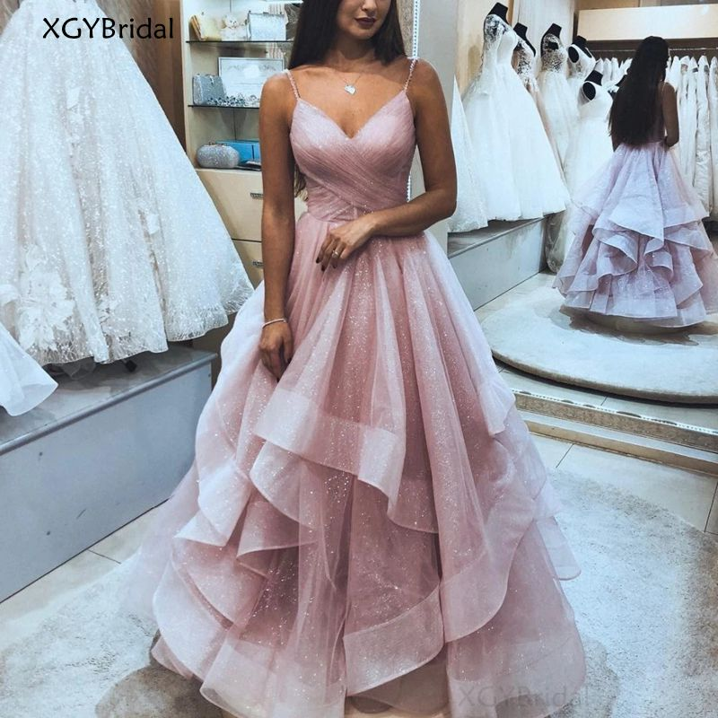 New Sexy Evening Dress 2021 Shinning Ruffles Long Prom Dresses Party Elegant Plus Size For Women Custom Made Robe De Soiree