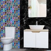 18pcs Kitchen Bathroom 3d Waterproof Self Adhesive Mosaic Wall Decal Cabinet Sticker Peel Stick Backsplash Vinyl Tiles Wallpaper