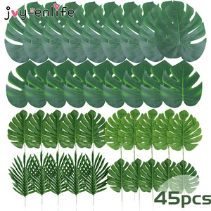 45pcs Artificial Palm Leaves for Hawaiian Party Plastic Artificial Tropical Plants For Table Decoration Home Garden Decoration