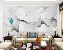 Шелковые обои beibehang на заказ, модные классические синие абстрактные чернила, ландшафт, камень, фон для телевизора, Настенные обои для украше...