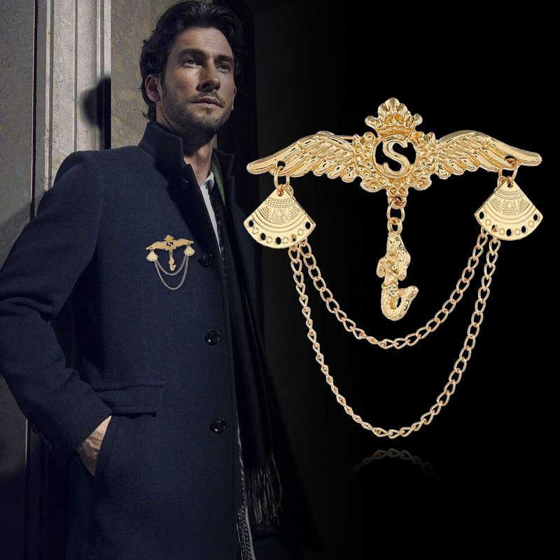I Remiel высокое качество крылья ангела мужской костюм брошь значок ретро броши цепь