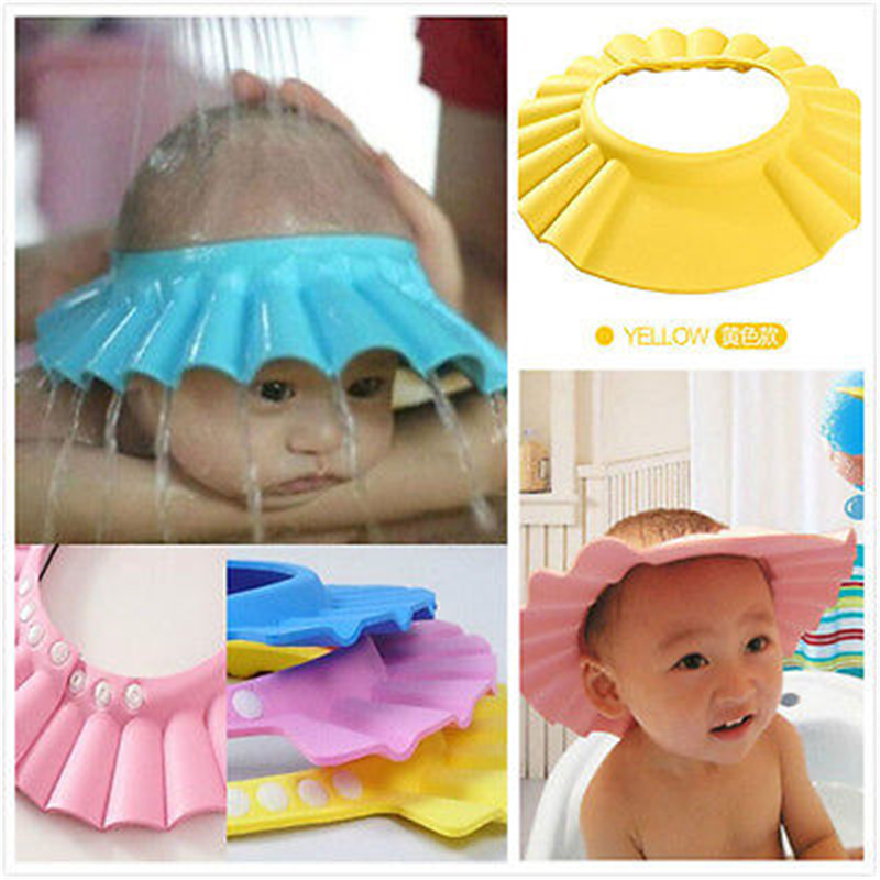 New Baby Shower Adjustable Cap Children Shampoo Bath Wash Hair Shield Hat Bathing Bebes Solid Color Safe Shampoo Baby Shower Cap image