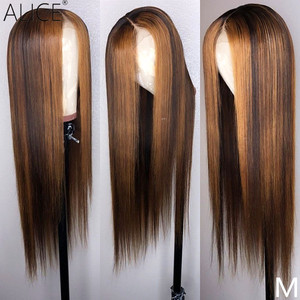 26 28 30 Inch Brazilian Straight 13x6 Lace Front Human Hair Wigs Pre Plucked and Bleached Knots Frontal Wig Remy Hair(China)