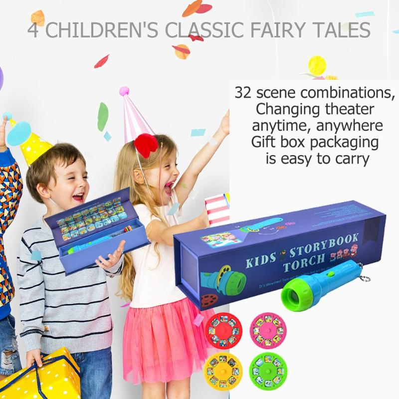 Mini Projection Lamp Fairy Tale Acting Game Educational Light-up Toys for Kids Develop Play Sleeping Stories Flashlight image