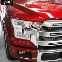 JHO Chrome Front Headlight Side Overlay Cover Trim For Ford F150 2015 2017 Platinum XL XLT Lariat Crew Cab Pickup Accessories