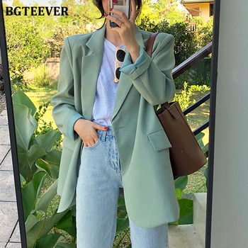 BGTEEVER Chic Loose Light Green Women Blazer Summer One Button Female Suit Jacket Full Sleeve Outwear blaser femme 2021