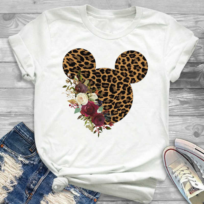 2019 Women Leopard Printed Graphic Flower Fashion T-Shirt Mouse Micky Ear Shirt Tumblr Tee Hipster  Female T Shirt Tees