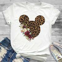 2019 Mulheres Leopard Impresso Gráfico Flor T-Shirt Da Forma Camisa Orelha de Rato Micky Tumblr Tee Hipster Feminino T Shirt T-shirt