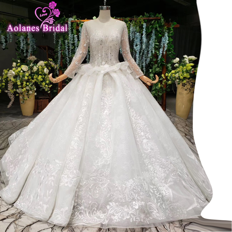 2019 Latest Bohemian Wedding Dresses Tulle Lace Long Sleeves Sweetheart Stars Crystals Shining Beaded Custom Made Bridal Gowns