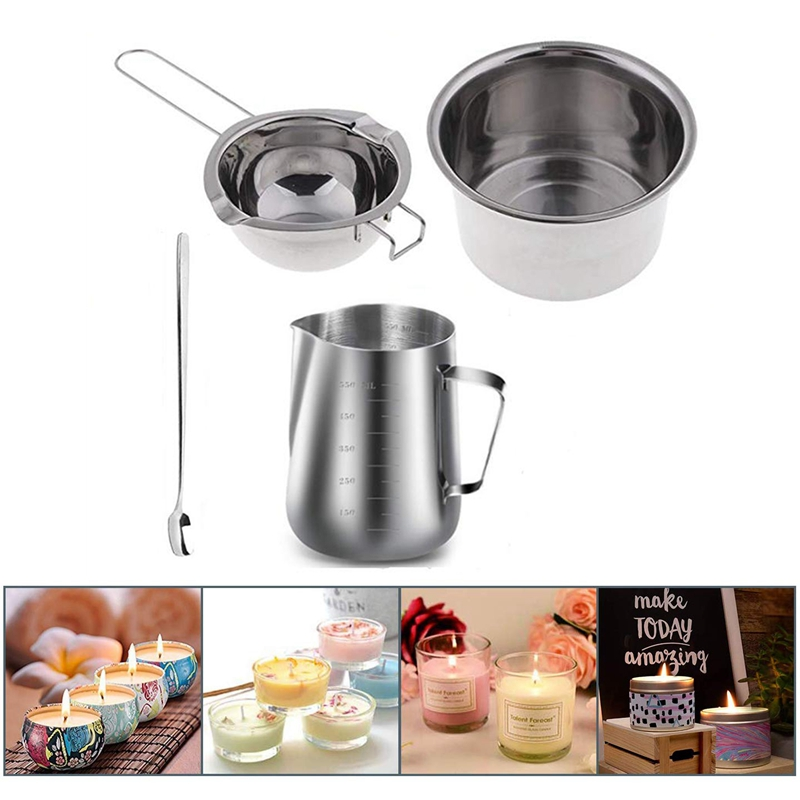 NHBR-4 Set Stainless Steel Double Boiler Long Handle Wax Melting Pot Pitcher Mixing Spoon Candle Soap Making DIY Scented Can