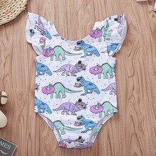 2018 Cute Summer Baby Girl Onesie Toddler Bodysuit Cartoon Dinosaur Dessert Party Leotard Flutter Sleeve Newborn