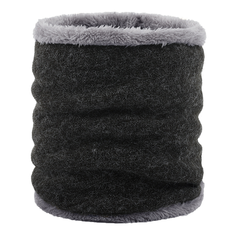 Fur Collar Man Warm Knit Neck Warmer Double-layer Thick Neck Scarf Fleece Lined Scarf For Skiing Hiking Climbing Neck Gaiter