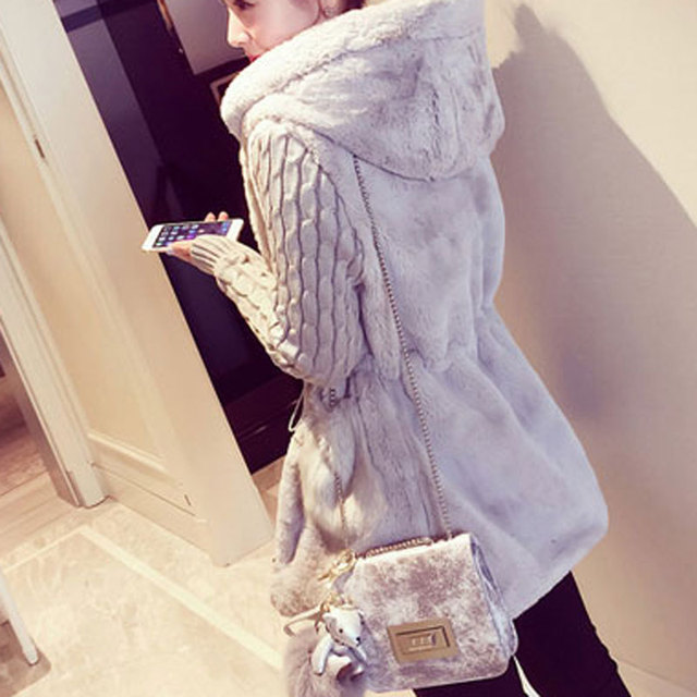 Fashion Faux Fur Coats Women 2020 Winter Plus Size S-4XL Hooded Classic Outwear Patchwork Thick Warm Luxury Knitted jacket 6