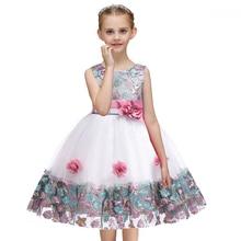 Summer Kids Dresses for Girls Elegant Princess Dress Flower Girls Wedding Dress Children Evening Party Dresses Vestido Infantil стоимость