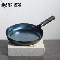 Master Star Handmade Forging Delicateness Hammer Pan lifespan of 20 Years Pure Iron Artwork Skillet Kitchen Steak Frying Pan